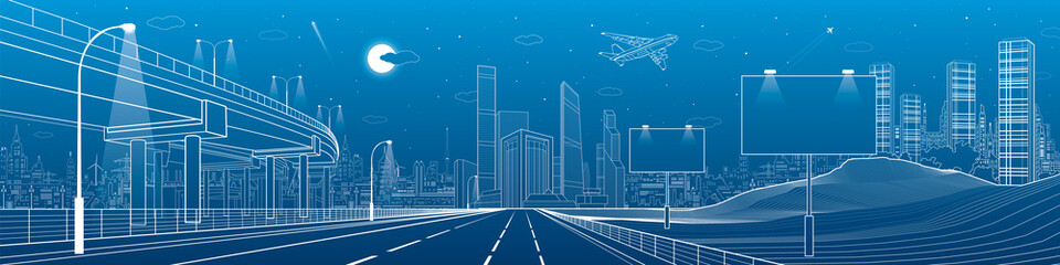 Automotive flyover, architecture and infrastructure panorama, transport overpass, billboards on highway, business center, night city, towers and skyscrapers, white lines urban scene, vector design art