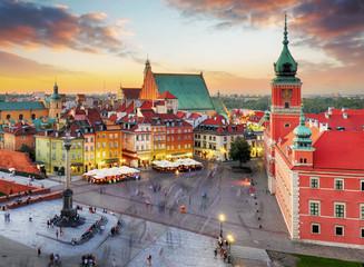 Obraz Nocna panorama Starego Miasta w Warszawie - fototapety do salonu