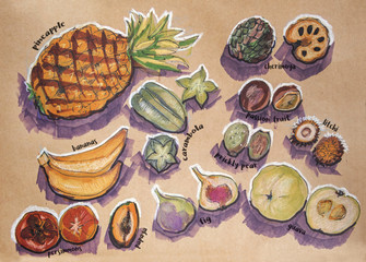 different food components, original drawing on craft paper