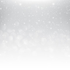 Snow fall with bokeh abstract grey background vector illustratio
