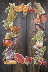 hand drawn vegetables and fruits clip-art on wooden background