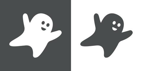 Icono plano fantasma volando gris