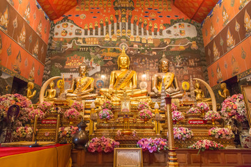 AYUTTHAYA,THAILAND - September 29,: Golden buddha statue in chap