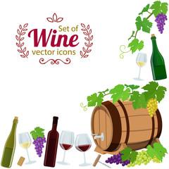 Corner frame of wine icons