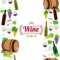 Vertical seamless borders of wine icons