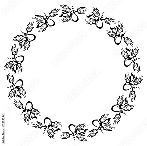 Silhouette Flower Frame Simple Black And White Frame With Abstract