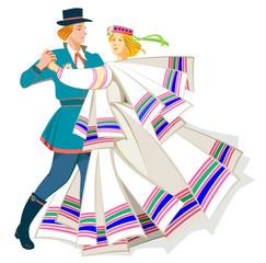 Card with couple dancing Baltic folk dance, vector cartoon image.
