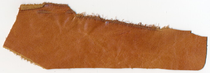 Isolated old genuine leather on a white background