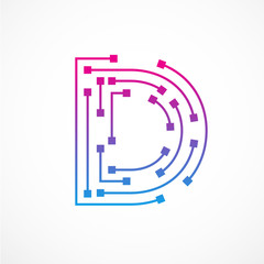 Abstract letter D logo design template,technology,electronics,digital,dot connection cross vector logo icon logotype