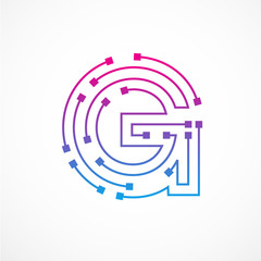 Abstract letter G logo design template,technology,electronics,digital,dot connection cross vector logo icon logotype