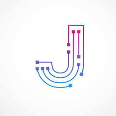 abstract letter j logo design templatetechnologyelectronicsdigitaldot connection cross