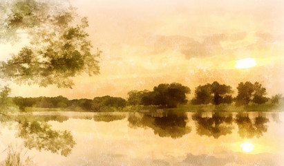 Watercolor background, sunset on a pond, cream