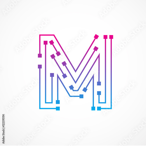 """"""" Abstract Letter M Logo Design Template,technology"""