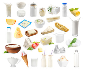 Foto auf Acrylglas Milchprodukt Different types of dairy products on white background. Dairy food collage.