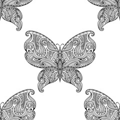 Vector seamless pattern with abstract butterflies.