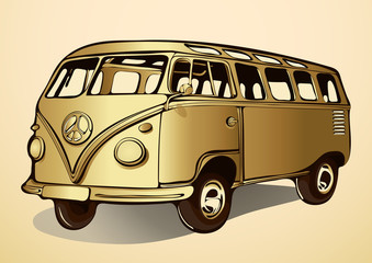 Gold bus, vintage, retro car, hand-drawing, cartoon transport. Isolated vector illustration