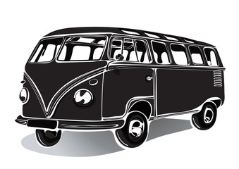 Vintage bus, retro car, black and white drawing, hand-drawing, monochrome. Isolated vector illustration