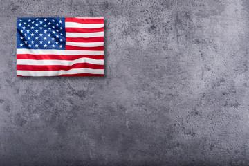 USA flag. American flag on concrete background.