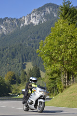Wall Mural - Motorradfahrer am Ettaler Sattel