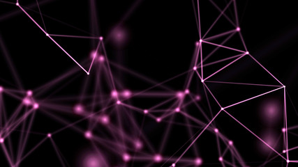 Background for communications, technology, science, computer networks, internet, social media. Purple on black. 3D rendering