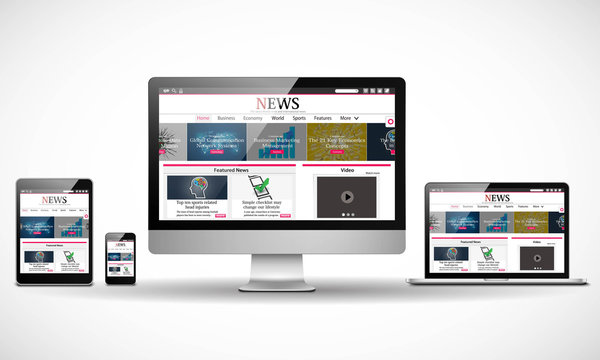 Multiple devices with business news internet web site Vector