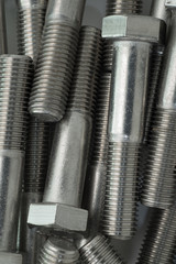 Strong stainless steel bolts close up