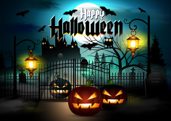 Halloween Background. Halloween Card with Pumpkins. Happy Halloween Vector Banner.