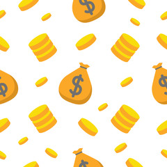Money and Finance Seamless Pattern with Coins and Money Bag. Vector background
