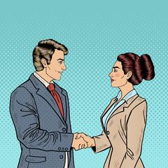 Business Agreement Partnership. Pop Art Businessman and Business Woman Handshake. Vector illustration