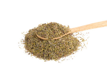 dried thyme herbs on white