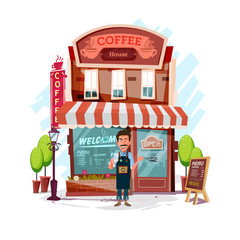 coffee house with barista man. Facade of a coffee shop store or