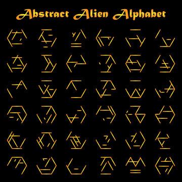 Alien golden alphabet