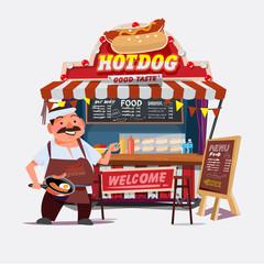 hot-dog outdoor cart with seller. character desgin - vector