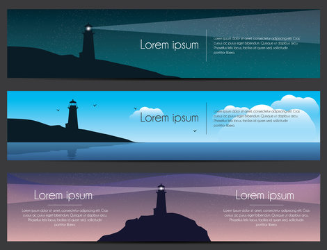 Lighthouse on the rock with sea banners set. Landscape