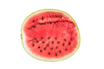 Half of watermelon with seeds in the section. On white isolated fone.Top view. Flat lay.