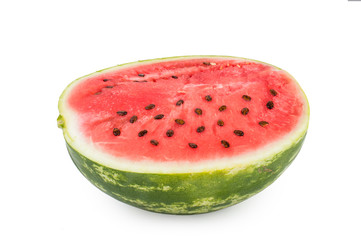 Half of watermelon with seeds in the section. Isolated on white background.