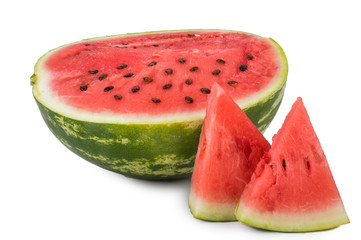Half of watermelon with seeds in the section. Two triangular pieces of watermelon. Isolated on white background.
