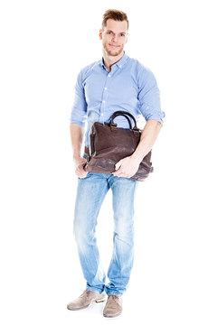 Student mit Notebook Tasche