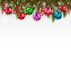 Christmas background-Realistic frame with fir and decoration