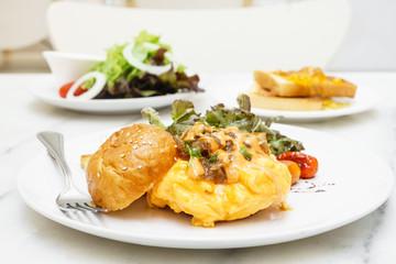 Egg omelette burger with saute vegetables