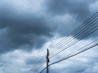 Electric pole and sky before the rain most cloudy.