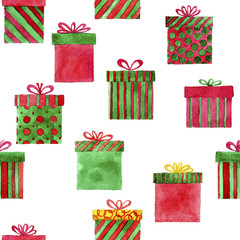 seamless pattern with watercolor gift boxes