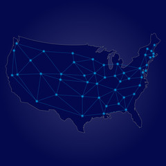 Blue USA network map vector