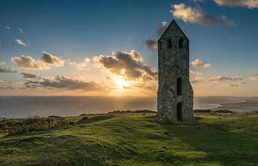 Sundown at a Medieval Lighthouse on the Isle of Wight
