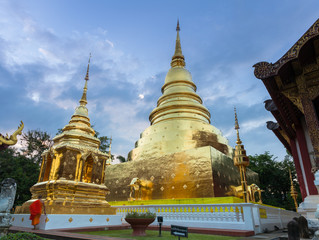 Dusk View of the Wat Phra Singh, Chiang Mai, Thailand