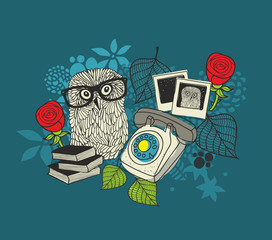 Romantic print with cute male owl and female owl photos.