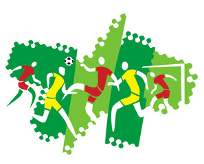 Soccer players on the grunge background.Five soccer players in action. Vector available.