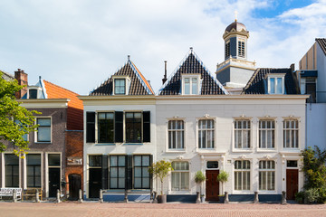Row of historic gables of houses on Stille Rijn in old town of Leiden, South Holland, Netherlands