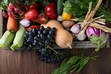 Organic fruits and veggies top view