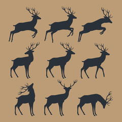 Deer silhouette set